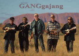 GANGgajang in front of Uluru with logo