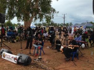 Performing with Shellie Morris at Milingimbi NT